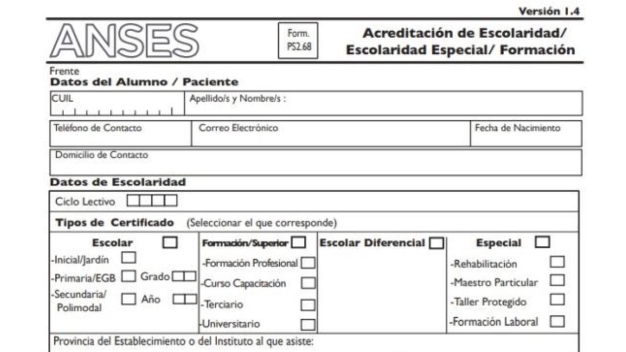 Formulario 268 de ANSES